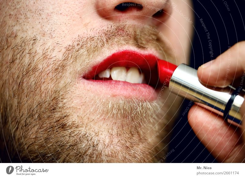 Überraschung | coming out Körperpflege Lippenstift maskulin Mund Zähne Bart 1 Mensch außergewöhnlich trendy rot Kosmetik feminin Homosexualität rebellisch