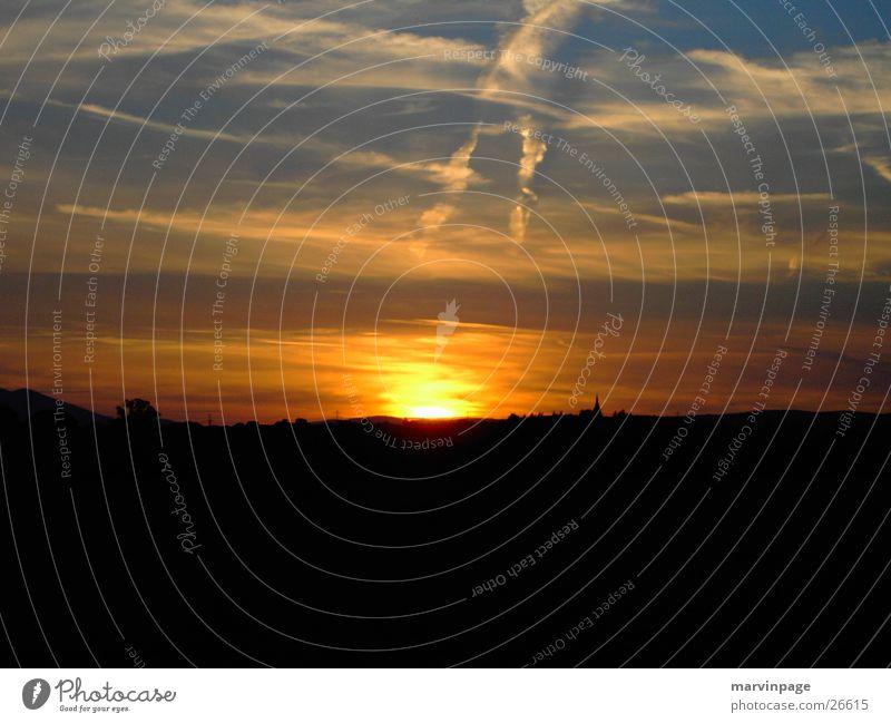 Sonnenuntergang Ebene X X Himmel Flache Berge
