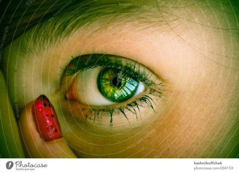 Green Eye Mensch Jugendliche grün Gesicht Auge gelb feminin Haare & Frisuren Junge Frau Haut Finger 13-18 Jahre Sehnsucht Kosmetik Wachsamkeit brünett