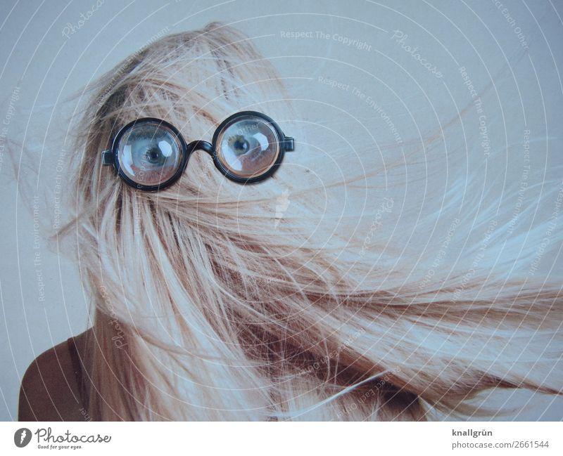 Durchblick Mensch feminin Junge Frau Jugendliche Haare & Frisuren Auge 1 18-30 Jahre Erwachsene Brille beobachten Kommunizieren Blick außergewöhnlich schwarz