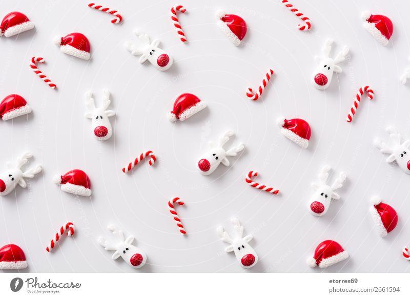 Weihnachtsornamentmuster auf weißem Hintergrund. Weihnachten & Advent Ornament Muster rot Hintergrund neutral Jahreszeiten Saison Ferien & Urlaub & Reisen