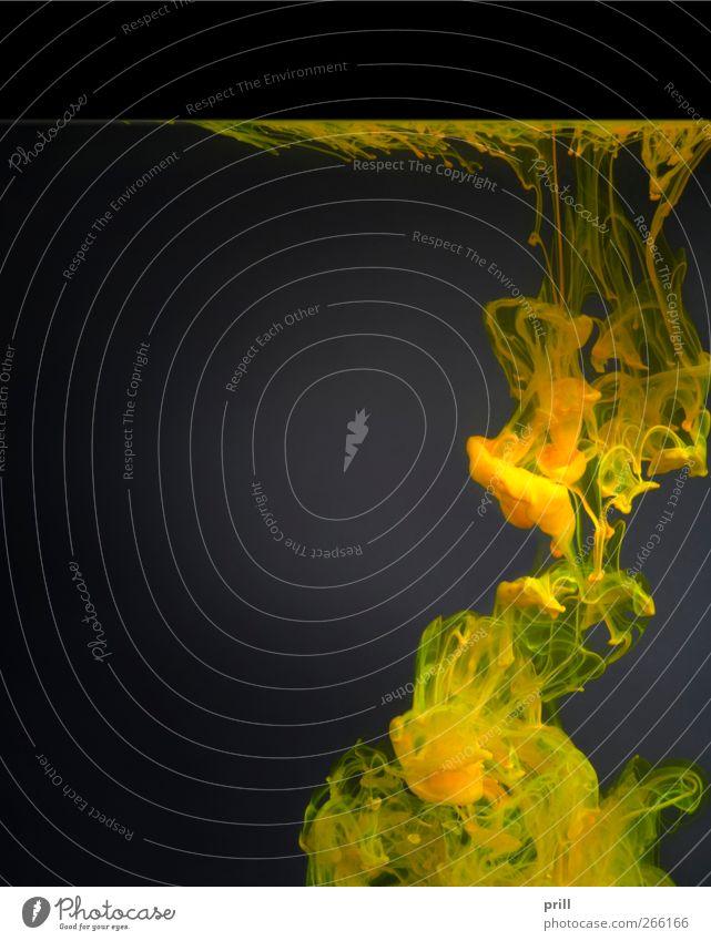 colorful contamination Wasser grün Wolken schwarz gelb grau Farbstoff Beleuchtung Zusammensein Hintergrundbild dreckig Physik Wissenschaften Flüssigkeit Verfall