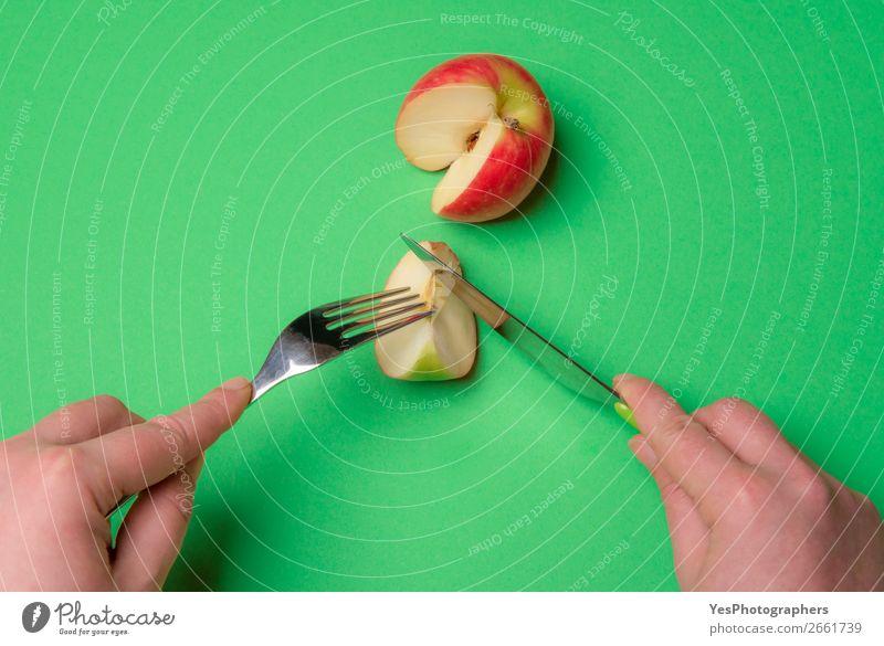 Gesunde Ernährung grün Gesundheit Essen Lifestyle Textfreiraum Frucht frisch Tisch Küche Apfel Vegetarische Ernährung Vegane Ernährung Mahlzeit Scheibe Entwurf