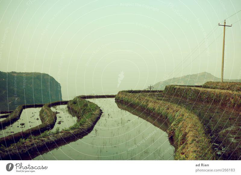 Terrassen Himmel Natur Wasser Pflanze Landschaft Gras Feld Felsen Treppe Hügel Schönes Wetter Landwirtschaft China Strommast bauen Ackerbau