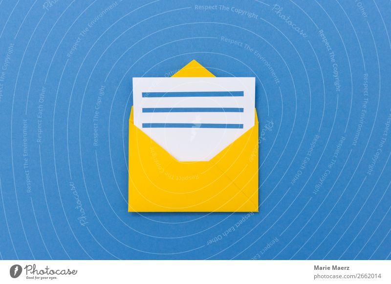 Offener Umschlag mit Brief Wirtschaft Business sprechen Schreibwaren Papier Briefumschlag lesen schreiben einfach neu blau gelb Neugier Interesse entdecken