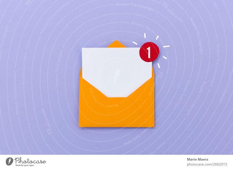 Neue E-Mail Nachricht im Posteingang Freude sprechen Business Kommunizieren Erfolg Coolness Neugier lesen Information Symbole & Metaphern neu schreiben