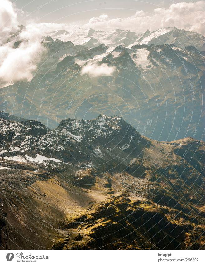 pure swissness Umwelt Natur Landschaft Himmel Wolken Horizont Sonne Sonnenlicht Sommer Schönes Wetter Schnee Alpen Berge u. Gebirge Gipfel Schneebedeckte Gipfel