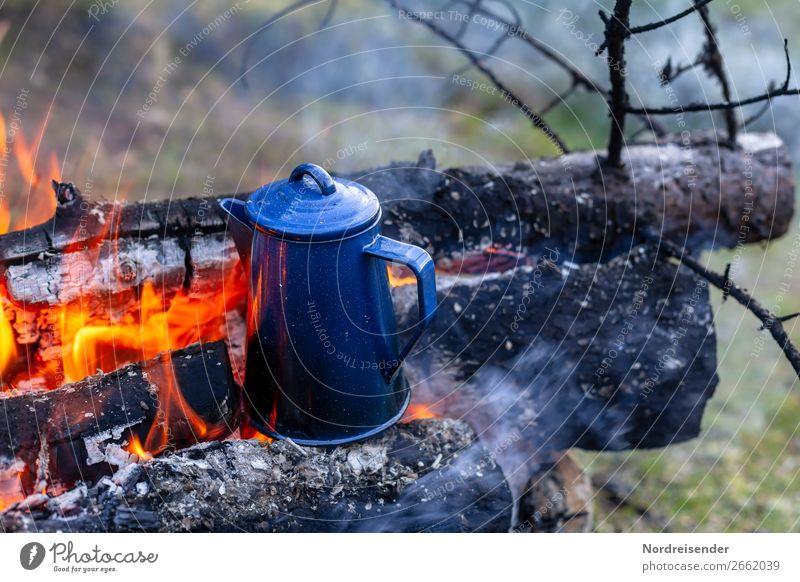 Überraschung | Später Kaffee Kaffeetrinken Picknick Getränk Tee Geschirr Ferien & Urlaub & Reisen Abenteuer Freiheit Camping Natur Urelemente Feuer Wald