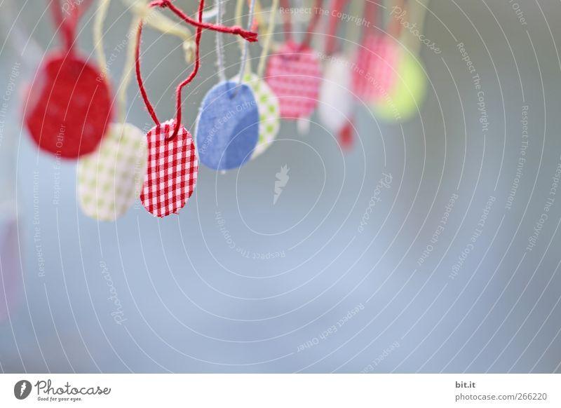 freihängende Bioeier blau rot Feste & Feiern Freizeit & Hobby Wohnung Design Schilder & Markierungen Dekoration & Verzierung Schnur Kreativität rund Idee Kitsch