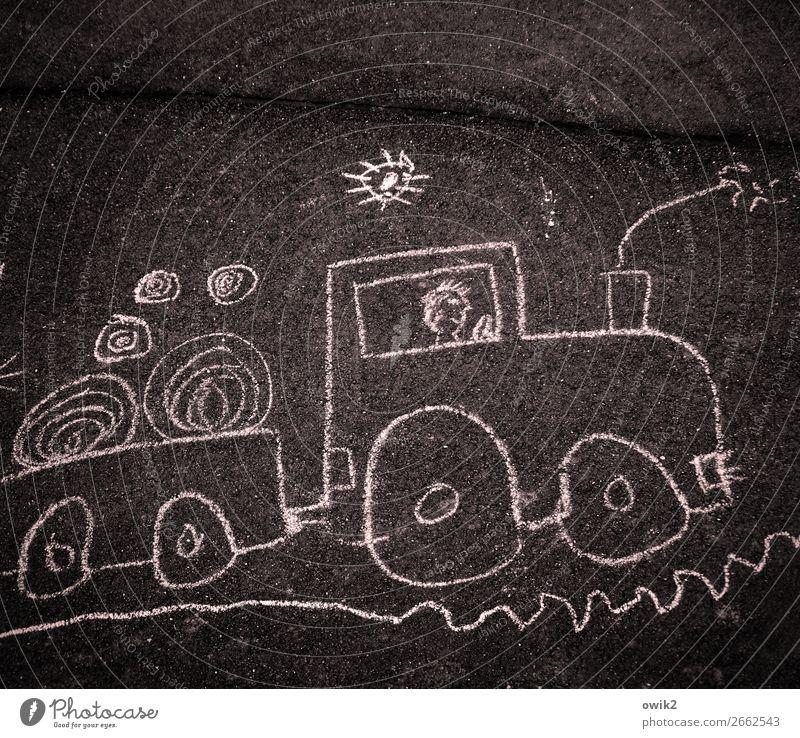 Schienenersatzverkehr Kunst Kunstwerk Kinderzeichnung Straße Lokomotive Asphalt Unikat fahren einfach unten unterwegs kindlich Kreidezeichnung Spielen
