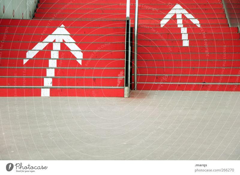 Aufwärts Arbeit & Erwerbstätigkeit Wirtschaft Börse Karriere Erfolg Treppe Zeichen Schilder & Markierungen Pfeil rot Optimismus Wachstum aufwärts Beginn