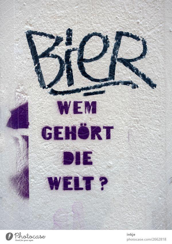 Frage und Antwort Bier Lifestyle Mauer Wand Fassade Zeichen Schriftzeichen Graffiti Fragezeichen Fragen lustig violett schwarz weiß Gefühle Stimmung Erde