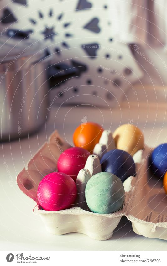 ostereier Lebensmittel Ei Feste & Feiern Ostern frisch blau gelb grün rosa Frühlingsgefühle Vorfreude orange Eierkarton Verpackung färben Osterei Farbe