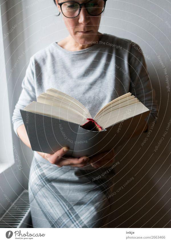 Lesen Farbfoto grau Frau Erwachsene Brille Rock Pullover seriös lesen Buch schwer Bildung interessant Erwachsenenbildung lernen Mensch Spießer frontal