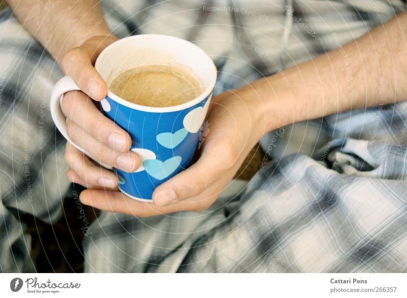 blue coffee maskulin Hand 1 Mensch festhalten trinken Flüssigkeit heiß nass blau Kaffee Tasse Porzellan Herz Behaarung Schlafanzug Morgen Getränk Heißgetränk