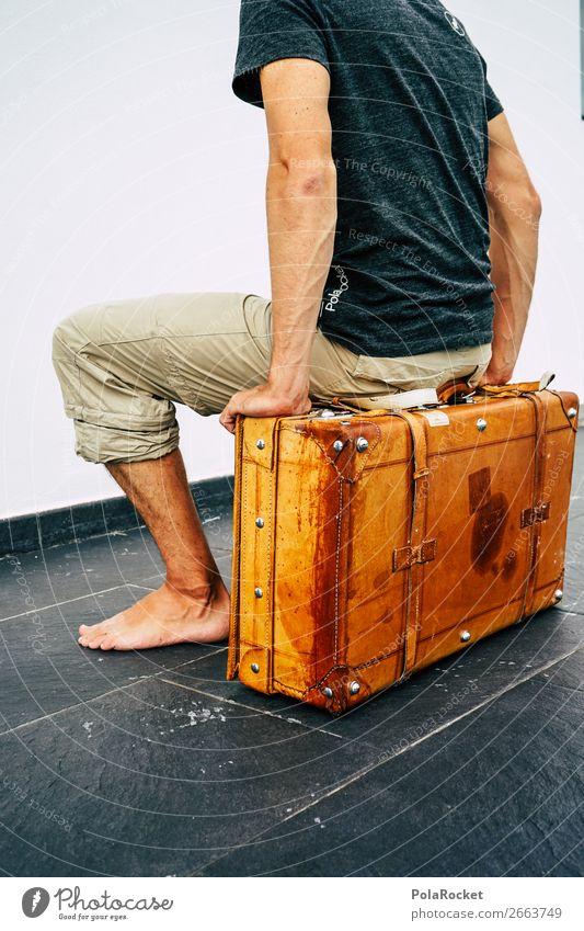 #AS# hop on the next ... Mensch Ferien & Urlaub & Reisen Junger Mann maskulin sitzen Ordnung Dinge Koffer Nostalgie Trennung Abschied antik Leder reisend packen