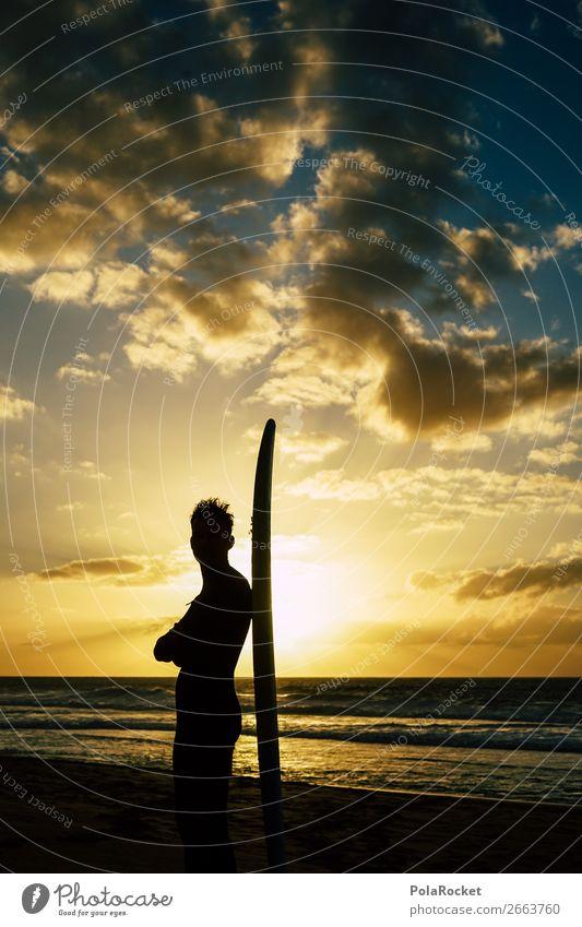 #AS# SurferBoy Lifestyle Freude Glück Surfen Surfbrett Surfschule Strand träumen traumhaft Ferien & Urlaub & Reisen Wellen Sonnenuntergang Schatten Junger Mann
