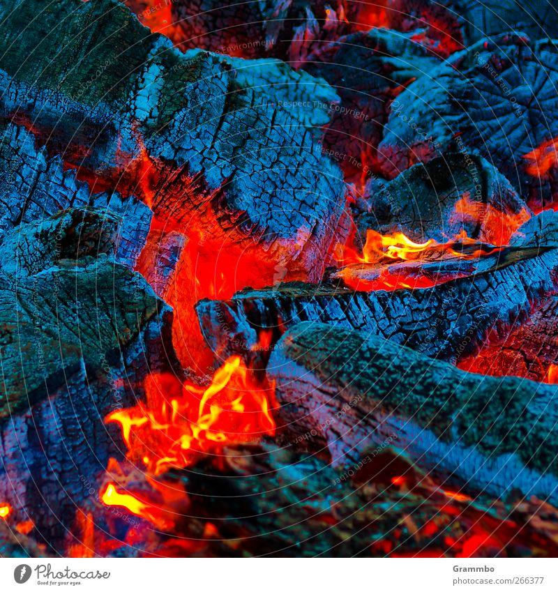 Osterfeuers Kern Feuer brennen Glut rot blau leuchten leuchtende Farben Flamme Wärme Feuerstelle Lagerfeuerstimmung Farbfoto Außenaufnahme Nahaufnahme
