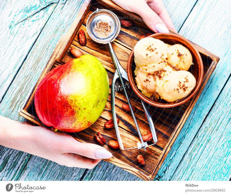 Eiscreme mit Mangogeschmack Dessert Tablett Baggerlöffel Vanille Eisbecher Sahne Sommer Hand gefroren Ball Geschmack melken Frucht Löffel Schalen & Schüsseln