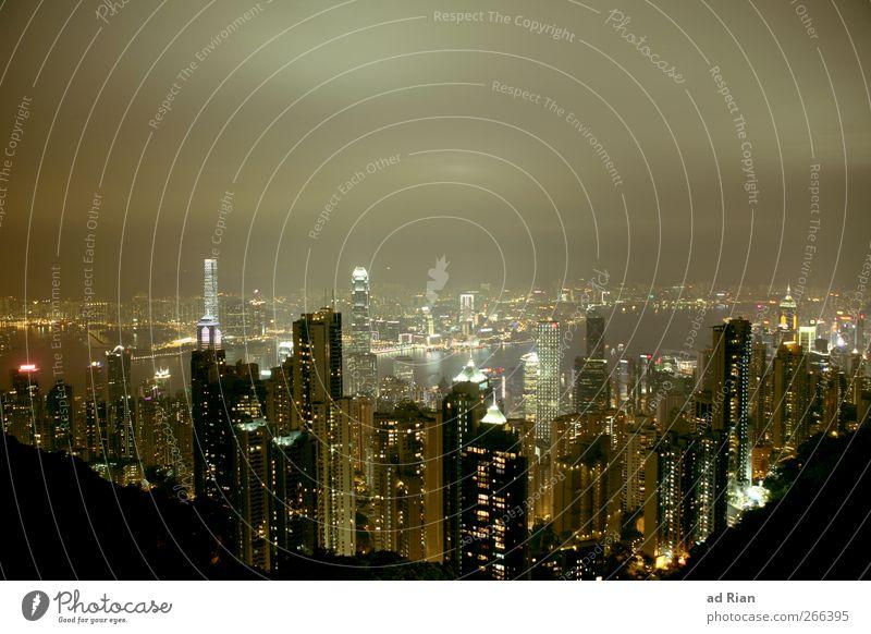Hongkong Himmel Wasser Wolken Haus dunkel Architektur Gebäude Luft Regen Fassade Nebel Hochhaus Bankgebäude Seeufer Skyline China