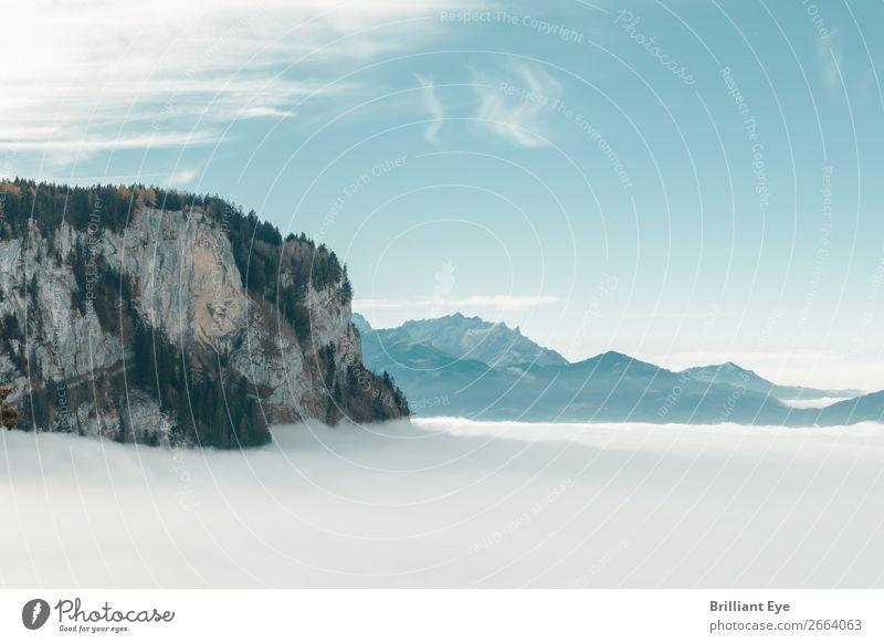 Der weisse Schleier Natur Ferien & Urlaub & Reisen weiß Landschaft Erholung Wolken ruhig Winter Ferne Berge u. Gebirge Tourismus außergewöhnlich Horizont Nebel
