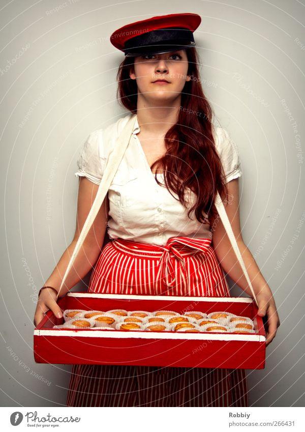 Keksmafia Mensch Jugendliche weiß rot feminin Junge Frau Erfolg Geld 13-18 Jahre Hut Hemd Süßwaren Dienstleistungsgewerbe lecker langhaarig verkaufen