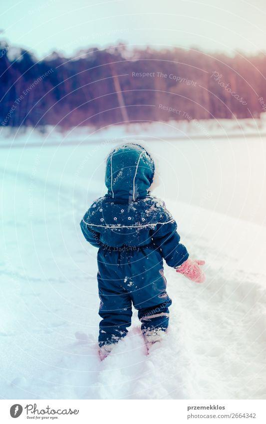 Kind Mensch blau weiß Freude Winter Mädchen Lifestyle Schnee Glück Schneefall Kindheit Aktion genießen authentisch laufen