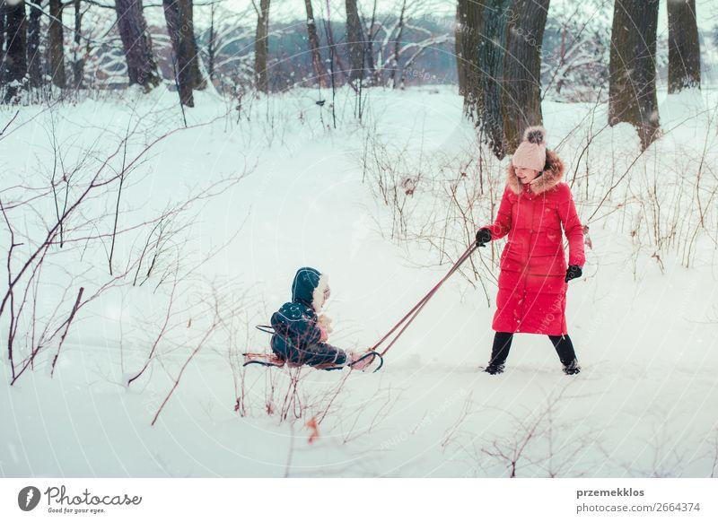 Frau Kind Mensch Natur Jugendliche Junge Frau weiß Baum Freude Wald Winter Mädchen Lifestyle Erwachsene Schnee Familie & Verwandtschaft