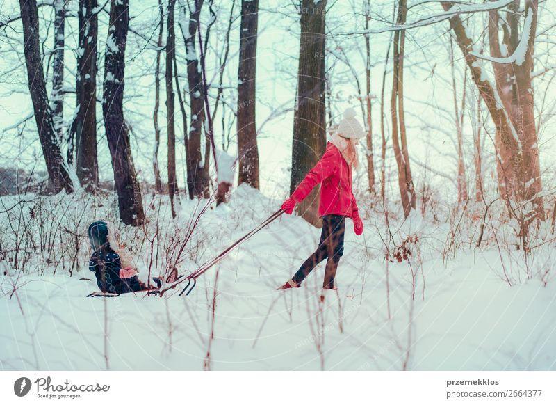 Teenagermädchen zieht mit ihrer kleinen Schwester Schlitten durch den Wald. Lifestyle Freude Glück Winter Schnee Winterurlaub Mensch Kind Kleinkind Mädchen