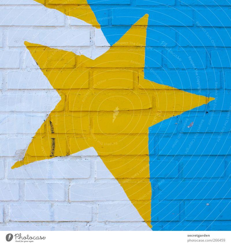 mit ecken und kanten. Kunst Gebäude Mauer Wand Fassade Dekoration & Verzierung Zeichen Graffiti leuchten eckig rebellisch verrückt trashig blau gelb weiß Farbe