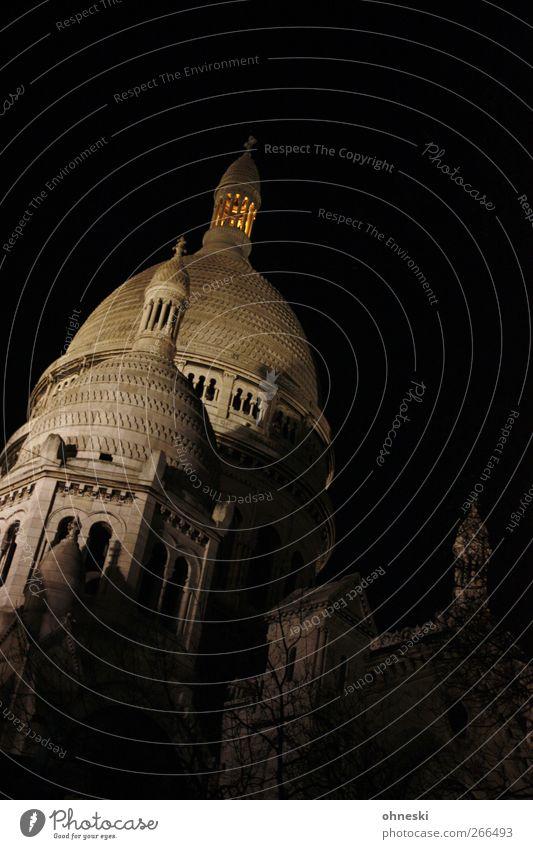 Paris at Midnight Montmartre Menschenleer Kirche Sehenswürdigkeit Sacré-Coeur Glaube Religion & Glaube Gedeckte Farben Außenaufnahme Textfreiraum rechts