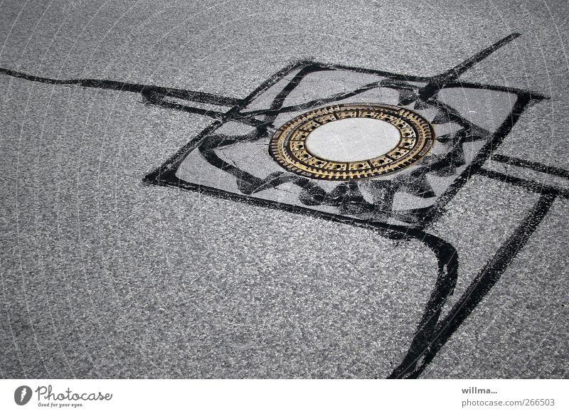 von der quadratur des kreises... Straße Asphalt Gully Teer rund grau schwarz Quadrat Schilder & Markierungen kennzeichnen Reparatur Straßenbelag Straßenbau