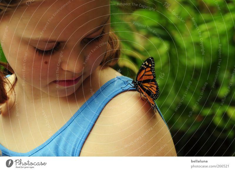 Liebe auf den ersten Blick. Mensch Kind Natur schön Pflanze Mädchen Tier Gesicht Auge feminin Leben Haare & Frisuren Kopf Kindheit Wildtier Mund