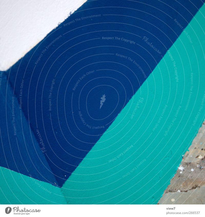 v Haus Bauwerk Gebäude Architektur Mauer Wand Fassade Stein Beton Linie Streifen ästhetisch authentisch einfach elegant frisch modern neu Klischee blau