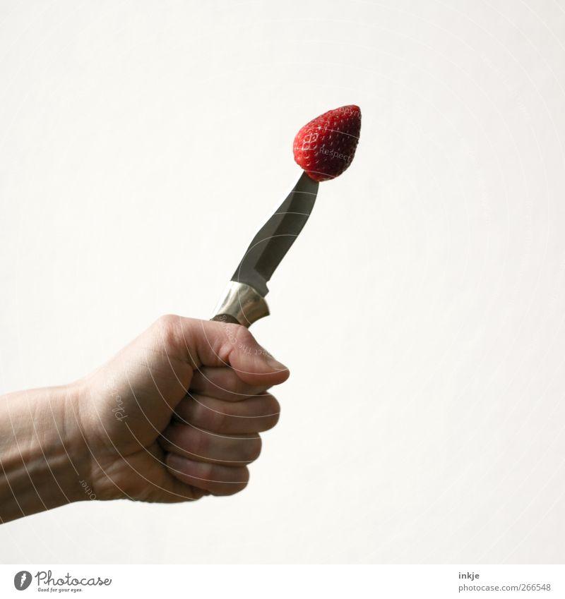 Wenn Argumente fruchten. Hand Gesunde Ernährung rot Gefühle Gesundheit außergewöhnlich Stimmung oben Frucht Freizeit & Hobby Ernährung Spitze bedrohlich Coolness festhalten Überraschung