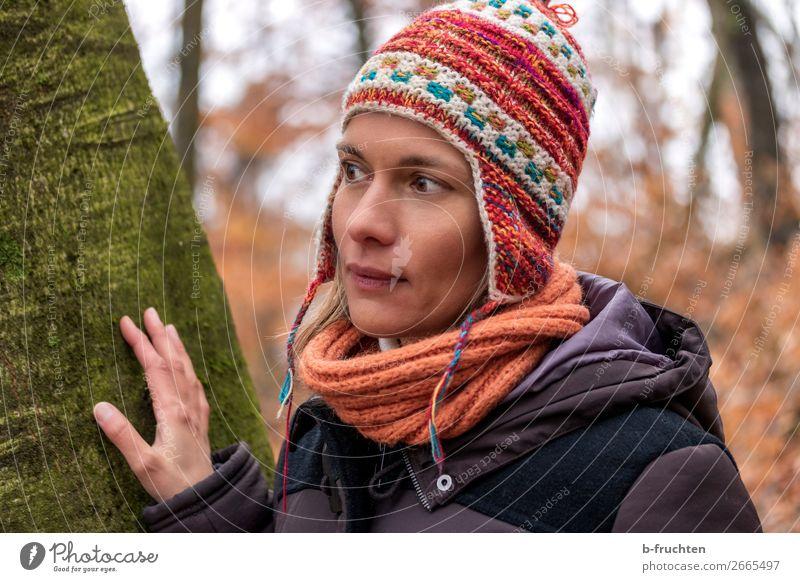 Frau mit peruanischer Mütze harmonisch Zufriedenheit wandern Erwachsene Gesicht Hand Herbst Baum Park Wald Mantel Schal beobachten Erholung Blick stehen einfach