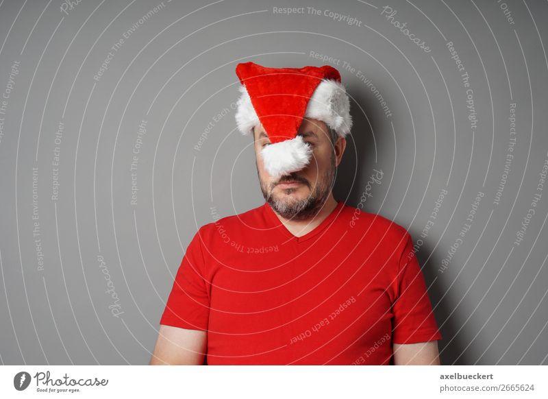 Weihnachtsdepression Winter Feste & Feiern Weihnachten & Advent Mensch maskulin Mann Erwachsene 1 30-45 Jahre 45-60 Jahre T-Shirt Mütze Bart Vollbart