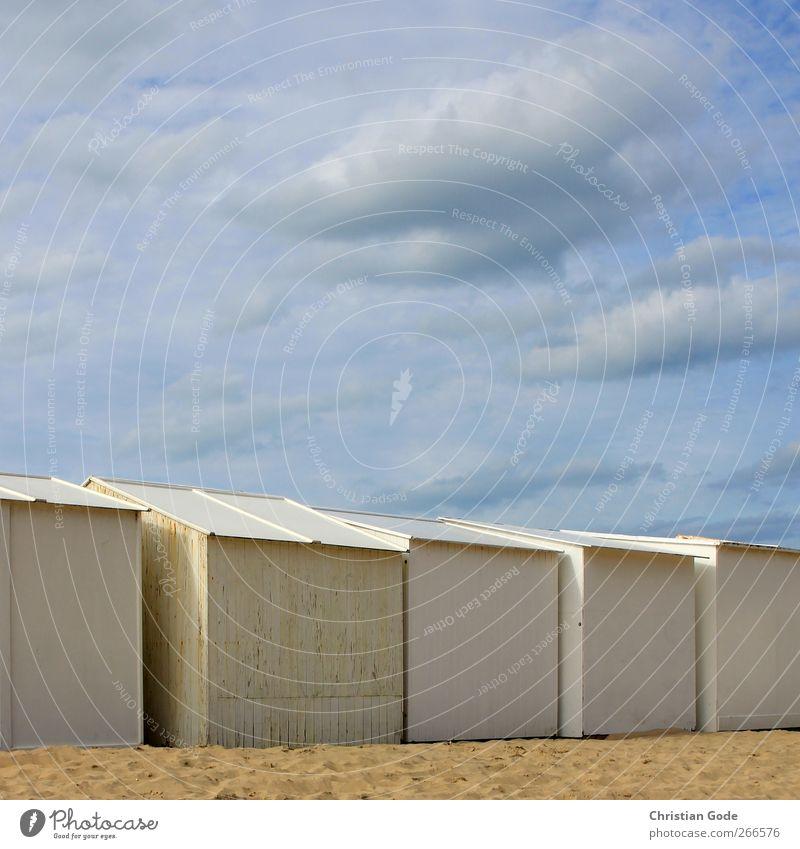 Strandstadt blau Ferien & Urlaub & Reisen Sonne Meer Sommer Wolken Haus Ferne Erholung gelb Holz Freiheit Sand Zufriedenheit Insel