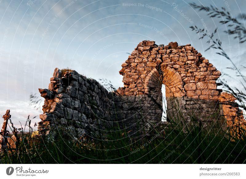 Die Kirche ist tot … Natur alt Pflanze Tod Fenster dunkel Wand Gras Mauer Europa Hoffnung Trauer Dorf Ruine Zerstörung