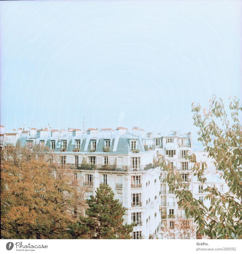 Über den Dächern von Paris Aussicht Himmel Wohngebiet Baum Fenster Architektur Farbfoto blau grün braun Ferne