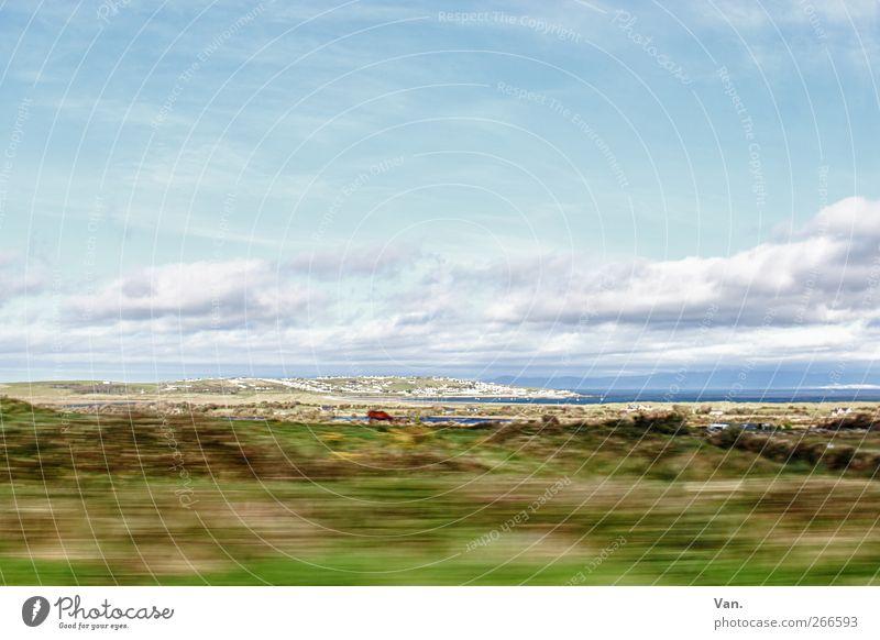 ich will zurück Himmel Natur blau grün Meer Wolken Haus Landschaft Wiese Gras Küste Luft hell Felsen Geschwindigkeit Sträucher