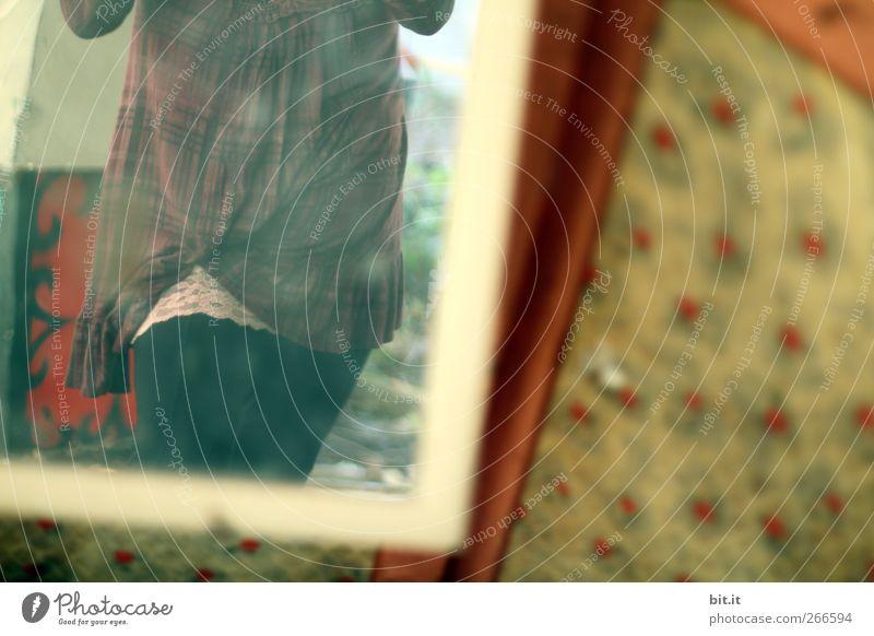 Spitzel Mensch Jugendliche feminin Leben Wand Beine Innenarchitektur Körper Raum Wohnung Junge Frau kaufen Häusliches Leben stehen Dekoration & Verzierung beobachten