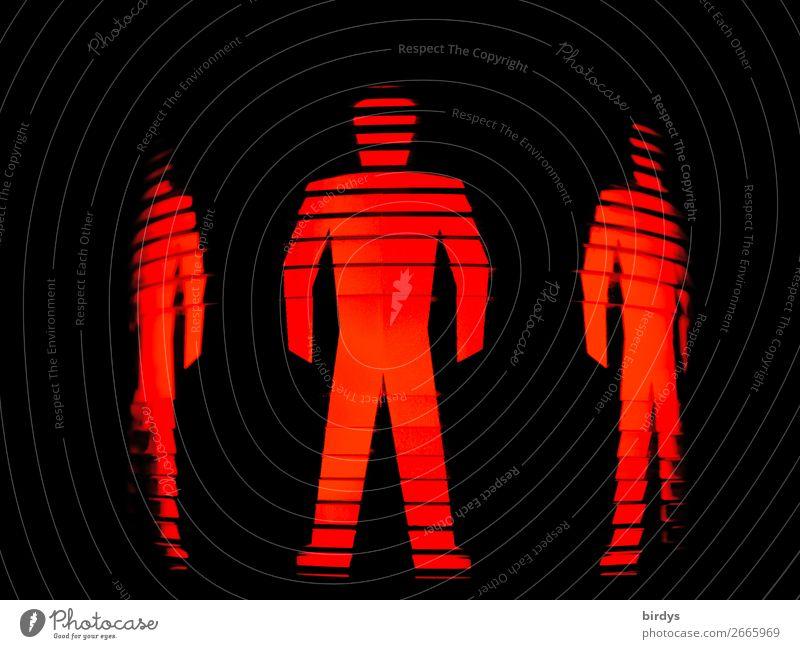 HAmpelmänner Mensch maskulin 3 Fußgänger Zeichen Verkehrszeichen stehen außergewöhnlich bedrohlich Coolness eckig dünn rot schwarz Kraft gefährlich