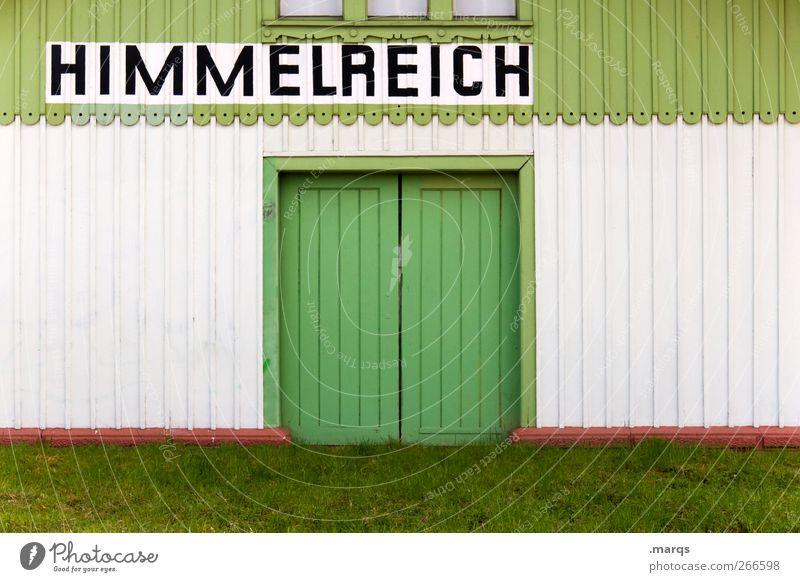 Sie haben ihr Ziel erreicht Fassade Tür Holz Zeichen Schriftzeichen schön grün weiß Gefühle Tod Ende Frieden Religion & Glaube Zukunft Himmel (Jenseits) Hölle