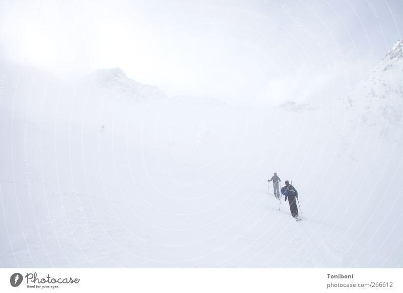 Up, up and away Natur weiß Winter Einsamkeit kalt Sport Berge u. Gebirge oben Wetter Nebel Abenteuer Skifahren Alpen Klettern Unendlichkeit Gipfel