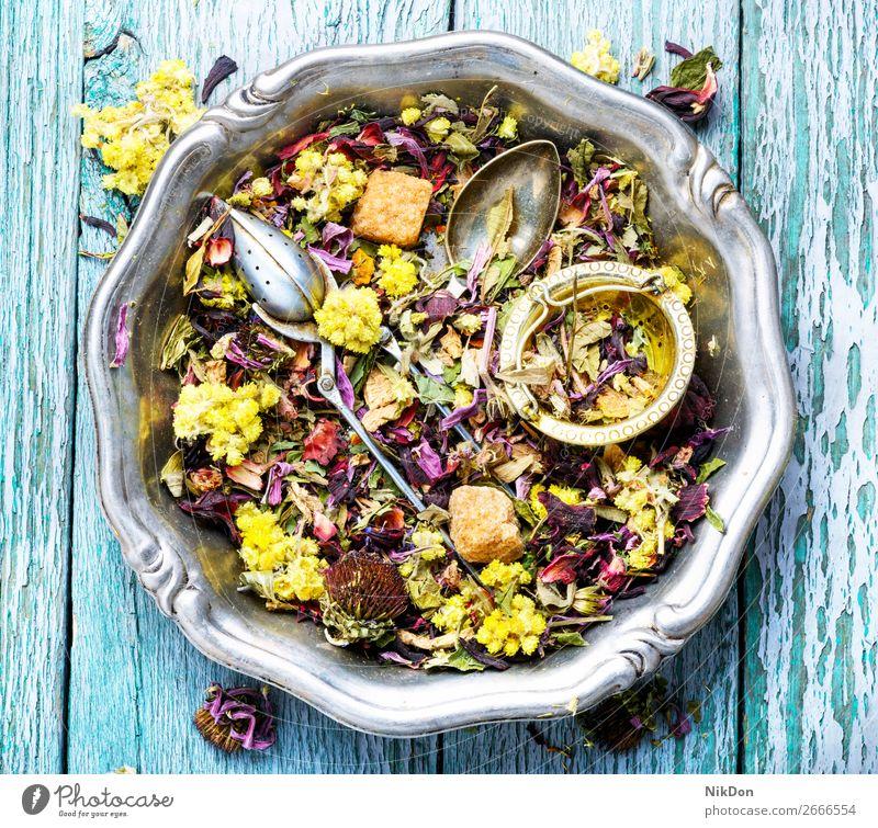 Kräutertee-Blütenblätter Tee Kraut Kräuterbuch Blatt trinken Gesundheit natürlich trocknen Antioxidans Pflanze Blume aromatisch Löffel Haufen Aroma Blütenblatt
