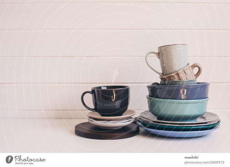 natürliches, rustikales, handgefertigtes Geschirr Abendessen Teller Schalen & Schüsseln Besteck Stil Design Tisch Küche Sammlung außergewöhnlich modern