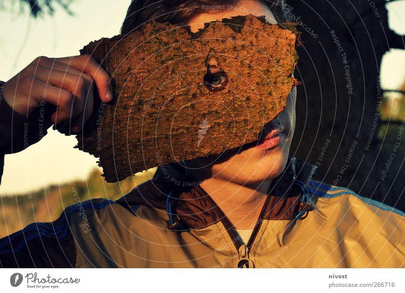 Astlochdurchblick Mensch maskulin Junger Mann Jugendliche Erwachsene Auge 1 18-30 Jahre Natur Baum Schutzbekleidung Maske kurzhaarig Holz einzigartig Scham