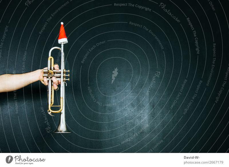 Trompete mit Nikolausmütze Weihnachten & Advent Musik Musiker Weihnachtsdekoration Weihnachtsmusik Dekoration & Verzierung weihnachtlich Musikinstrument