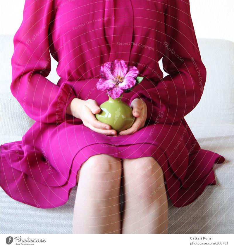 All They Want Stil feminin Körper 1 Mensch Pflanze Blüte exotisch Kleid Stoff festhalten sitzen schön einzigartig natürlich dünn weich violett rosa Blume